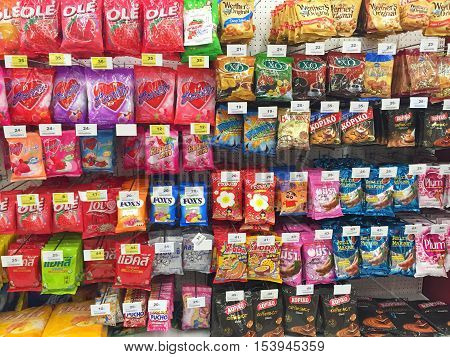 CHIANG RAI THAILAND - OCTOBER 28 : various brand of candy in packaging in supermarket stand or shelf in Big C Supercenter on October 28 2016 in Chiang rai Thailand.