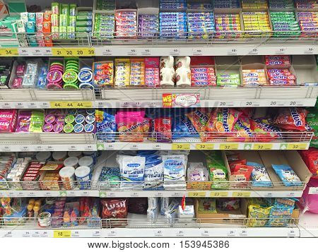 CHIANG RAI THAILAND - OCTOBER 28 : various brand chewing gum in packaging in supermarket stand or shelf in Big C Supercenter on October 28 2016 in Chiang rai Thailand.