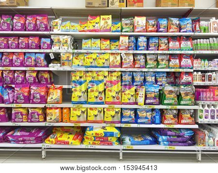CHIANG RAI THAILAND - OCTOBER 28 : Cat Food On Animal Supermarket Stand or shelf in Big C Supercenter on October 28 2016 in Chiang rai Thailand.