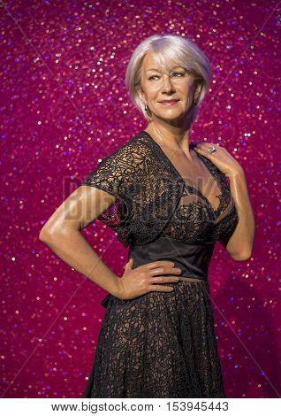 London, the UK - May 2016: Helen Mirren's wax figure in Madame  Tussauds museum