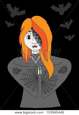 Girl vampire in clothes with a spider web and bat on the black background. For banners labels badges prints posters web.