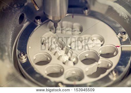 Close up photo of dental milling machine