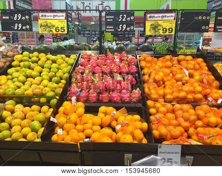 CHIANG RAI THAILAND - OCTOBER 28 : Fresh organic fruits in supermarket farmers market on shelves in Big C Supercenter on October 28 2016 in Chiang rai Thailand.