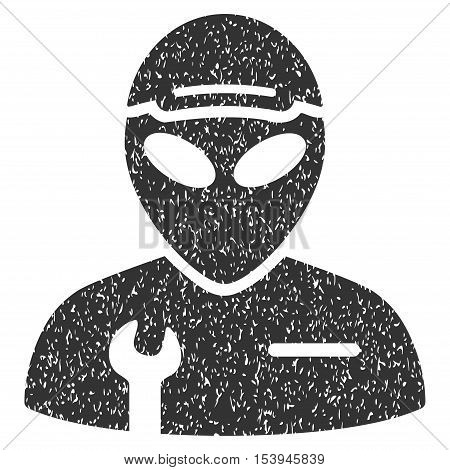 Alien Serviceman grainy textured icon for overlay watermark stamps. Flat symbol with dust texture. Dotted vector gray ink rubber seal stamp with grunge design on a white background.