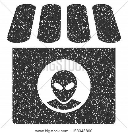 Alien Shop grainy textured icon for overlay watermark stamps. Flat symbol with dust texture. Dotted vector gray ink rubber seal stamp with grunge design on a white background.