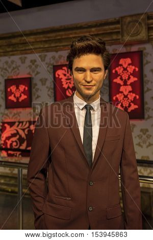 London, the UK - May 2016: Robert Pattinson  wax figure in Madame  Tussauds museum