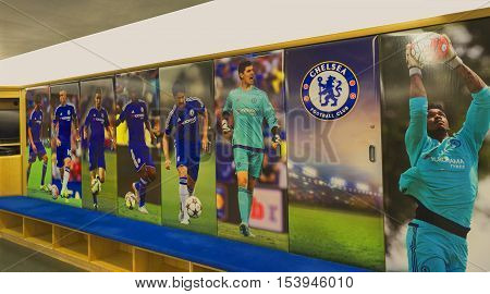 London, the UK - May 2016: In the changing room of FC  Chelsea at Stamford Bridge Arena