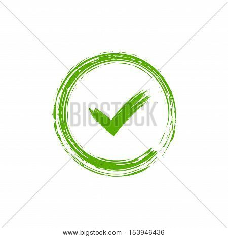 Tick sign element. Green checkmark icon isolated on white background. Simple mark design. Circle shape OK button for vote decision web. Symbol of correct check approved Vector illustration