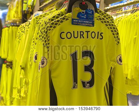 London, the UK - May 2016: Courtois t-shirt in the official FC Chelsea store