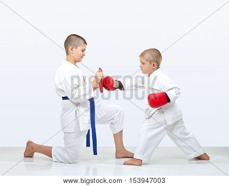 Brother holds makiwara for brother to train punch