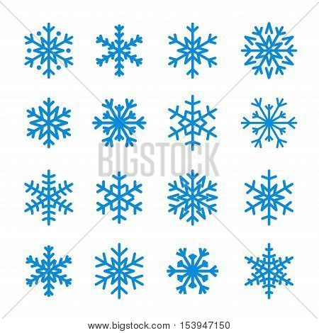 Snowflake icons set. Blue silhouette snowflakes signs isolated on white background. Flat design. Symbol of winter snow Christmas New Year holiday. Graphic element decoration Vector illustration