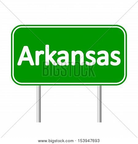 Arkansas green road sign isolated on white background.