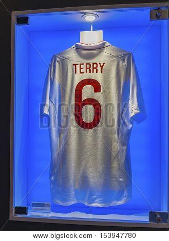 London, the UK - May 2016: John Terry t-shirt in FC Chelsea  museum
