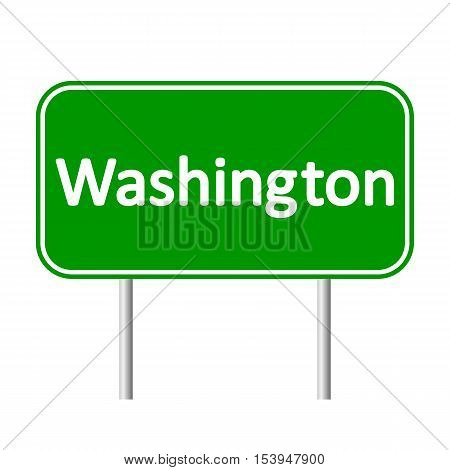 Washington green road sign isolated on white background.