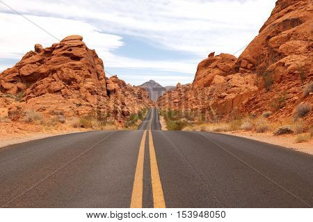 Scenic road through Valley of Fire State park, Nevada, USA