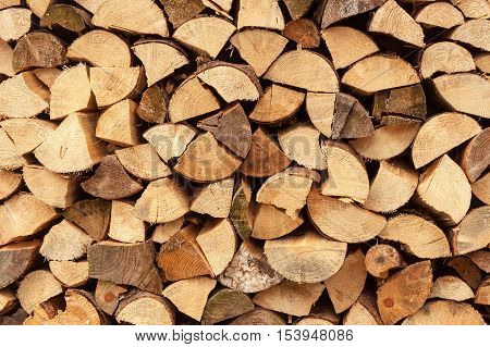 wall firewood , Background of dry chopped firewood logs in a pile. Stack of logs felled and left to dry.