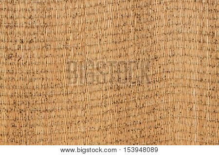 Closed up wooden weave texture background. Moldy straw mat. Japanese tatami mat texture.
