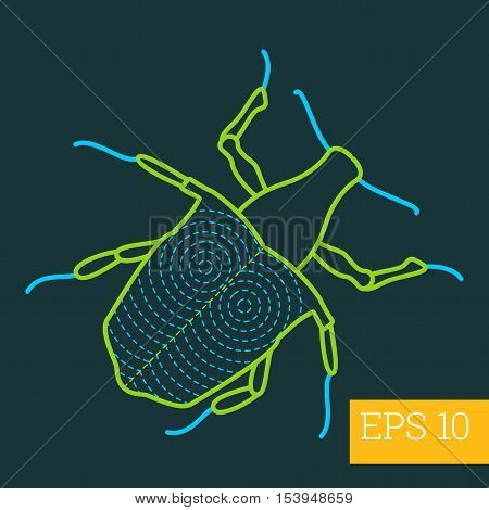 Cerambycidae Bug Insect Outline Vector