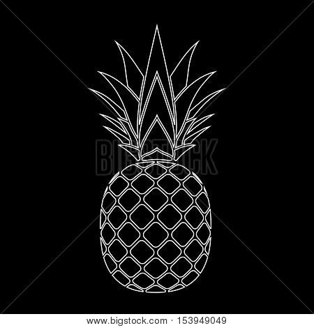 Pineapple with leaf silhouette icon. Tropical fruit isolated on black background. Symbol of food exotic and summer vitamin healthy. Nature logo. Flat concept. Design element Vector illustration