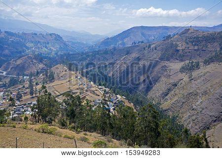 Andes mountains surrounding the city of Guranda, Bolivar Province, Ecuador, on a sunny morning.