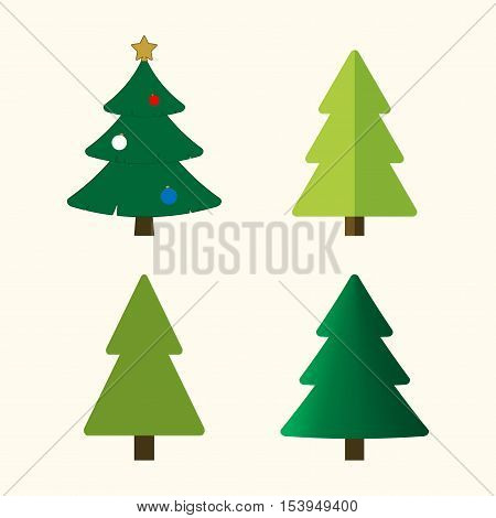 Christmas tree cartoon icons set. Green silhouette decoration trees signs isolated on white background. Flat design. Symbol of holiday winter Christmas celebration New Year Vector illustration