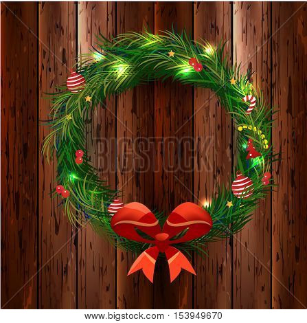 Realistic Christmas coniferous wreath isolated on the wood background. Vector Illustration, eps10, contains transparencies.