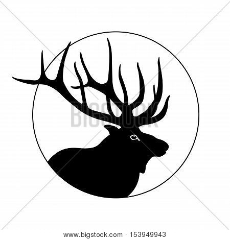 deer head vector illustration black silhouette profile
