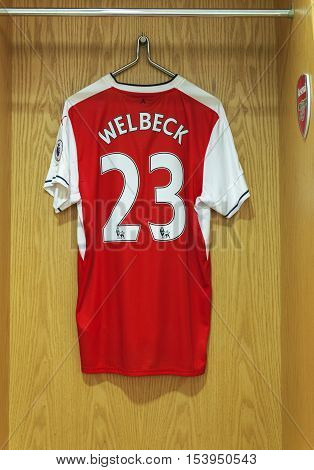London, the UK - May 2016: John Welbeck shirt in the changing room of FC Arsenal at  the Emirates Arena