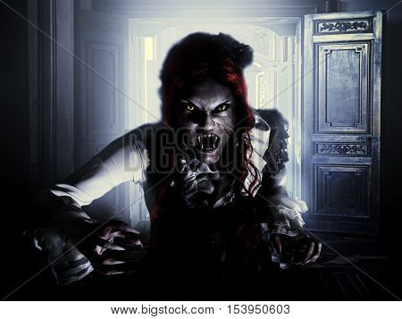 vampire woman with demon wolves in horror forest