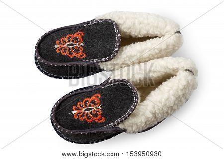sneakers with fur on white background, isolated