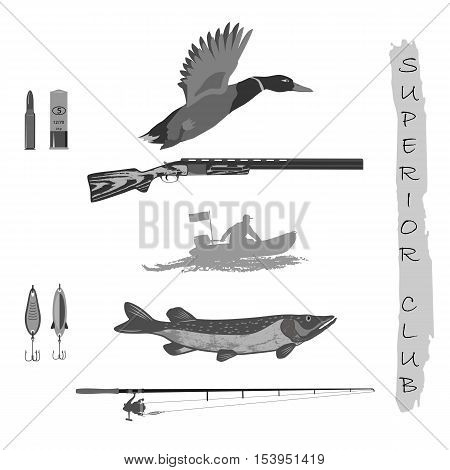 set for fishermen and hunters. rifle and duck. Spinning and fish. a man in a rubber boat. Isolate on white background.
