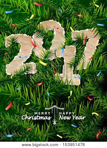 New Year 2017 of crumpled paper between pine twigs. Paper year numbers is strewn with confetti on christmas tree. Vector image for new years day christmas winter holiday new years eve silvester