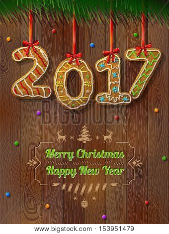 New Year 2017 in shape of gingerbread against wood background. Year number like cookies on ribbon. Vector illustration for christmas new years day cooking winter holiday food silvester etc