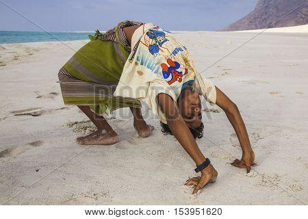 Socotra Yemen April 30th 2014: young boy in a bridge on a beach