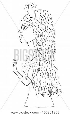 Young beautiful afro American girl on crone with long hair. Mono color black line art element for adult coloring book page design.