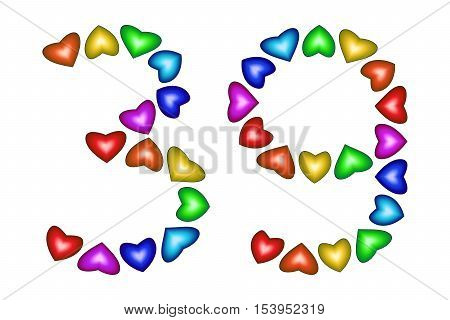 Number 39 of colorful hearts on white. Symbol for happy birthday event invitation greeting card award ceremony. Holiday anniversary sign. Multicolored icon. Thirty nine in rainbow colors. Vector