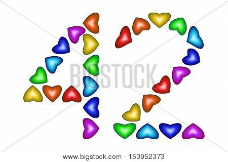 Number 42 of colorful hearts on white. Symbol for happy birthday event invitation greeting card award ceremony. Holiday anniversary sign. Multicolored icon. Forty two in rainbow colors. Vector