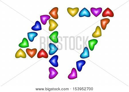 Number 47 of colorful hearts on white. Symbol for happy birthday event invitation greeting card award ceremony. Holiday anniversary sign. Multicolored icon. Forty seven in rainbow colors. Vector