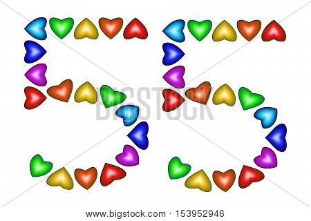 Number 55 of colorful hearts on white. Symbol for happy birthday event invitation greeting card award ceremony. Holiday anniversary sign. Multicolored icon. Fifty five in rainbow colors. Vector