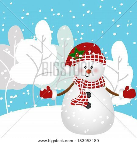 Snowman vector illustration. Winter. Snowman cartoon,Winter forest, trees in the snow
