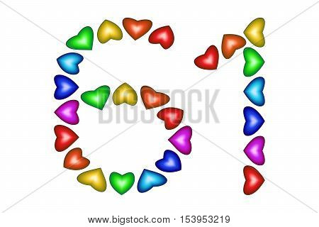 Number 61 of colorful hearts on white. Symbol for happy birthday event invitation greeting card award ceremony. Holiday anniversary sign. Multicolored icon. Sixty one in rainbow colors. Vector