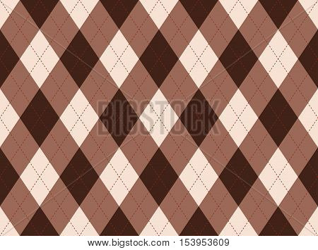 Seamless argyle pattern. Tan, taupe & dark brown diamond check print. Traditional diagonal checkered background for textile design: argyle socks, polo, jersey, sweater, golf & curling sport outfits.