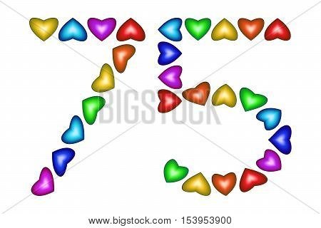 Number 75 of colorful hearts on white. Symbol for happy birthday event invitation greeting card award ceremony. Holiday anniversary sign. Multicolored icon. Seventy five in rainbow colors. Vector