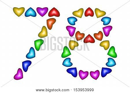 Number 78 of colorful hearts on white. Symbol for happy birthday event invitation greeting card award ceremony. Holiday anniversary sign. Multicolored icon. Seventy eight in rainbow colors Vector