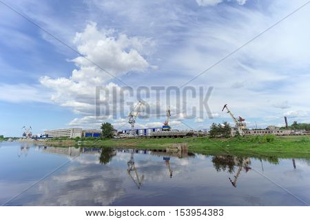 Gorodets Russia. - June 2.2016. The view from the river at the shipyard Ship Repair Shipbuilding Corporation in Gorodets
