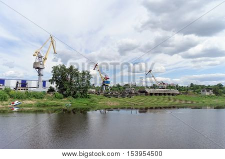 Gorodets,, Russia. - June 2.2016. The View From The River At The Shipyard Ship Repair Shipbuilding C