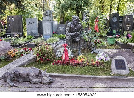 Moscow Russia -September 102016: Novodevichye Cemetery. Grave actor Yuri Nikulin