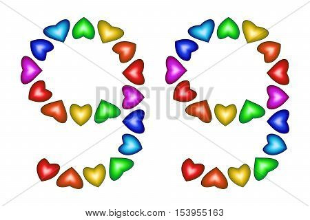Number 99 of colorful hearts on white. Symbol for happy birthday event invitation greeting card award ceremony. Holiday anniversary sign. Multicolored icon. Ninety nine in rainbow colors. Vector