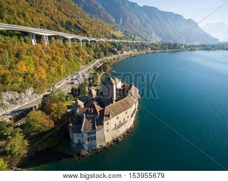Aerial view of Chillon Castle - Chateau de Chillon in Montreux, Switzerland