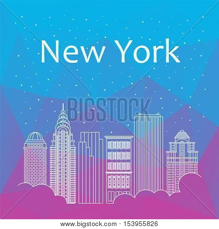 New York for banner, poster, illustration, game, background. Vector background New York - snow is falling. Night life of New York. Hackathon, workshop, training in New York. Holiday in New York